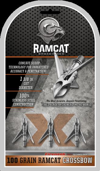 Ramcat Hydroshock-X Crossbow 100 Grain Fixed Blade Broadhead R2000